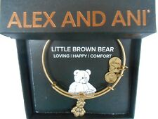 Alex and Ani LITTLE BROWN BEAR Bangle Bracelet Rafaelian Gold NWTBC