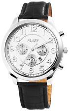 Herrenuhr Flair Herren Armbanduhr Datum Leder Armband Uhr 3 ATM Gehäuse 47 mm
