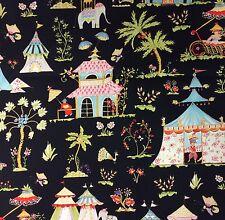 RPFBC003A Toile Asia Tropical India Tent Elephants Palm Tree Cotton Quilt Fabric