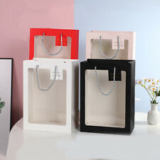1Pc Valentine's Day Flower Gift Tote Bag PVC Open Window Package Pouch Portable