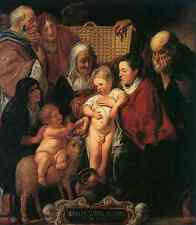 Metal Sign Jacob Jordaens The Holy Family With St Anne The Young Baptist And His