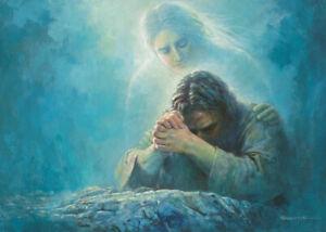 """Yongsung Kim Jesus praying in the garden at Gethsemane  8"""" x 10"""" ready to frame"""