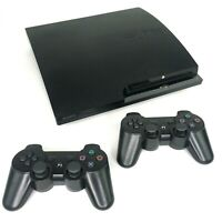 Sony PlayStation 3 PS3 Slim Console with Two Wireless Controllers