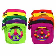 "TX359 Peace Purse Tote Handbag 8""x 8"" Cotton Pouch Hand Made Artisan Fair Trade"