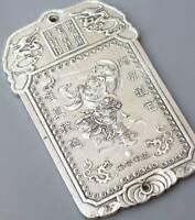old Chinese tibet Silver deer ring bell Bullion thanka amulet thangka Pendant N