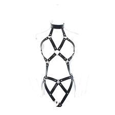 Sexy Faux Leather Full Body Clubwear Fetish Costume Bondage Belt Lingerie A