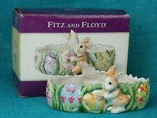 Fitz & Floyd Candy Tidbit Dish Painting Easter Eggs Bunny Rabbit Hand Painted