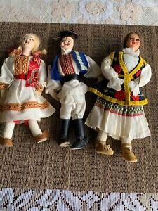 Three Vintage Croatian (Slavic) dolls with handmade cloth costumes