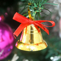 9Pc Christmas Gold Bells Xmas Tree Hanging Baubles Festivel Party Decoration DIY