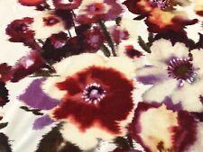 Rubelli Watercolor Floral Printed Velvet Fabric- Malvasia / Melograno 0.70 yd