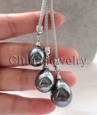 "P6304-24"" 3bead 15-18-20mm bright black drip sea shell pearl necklace"