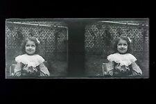 Enfant Photo amateur France Famille Plaque stéréo NÉGATIF 45x107mm ca 1910