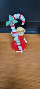 Napco Christmas Figurine Angel Bell With Candy Cane 1956