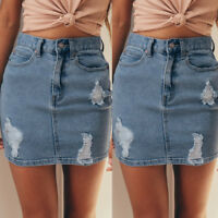 Fashion Womens Casual Summer Denim Jeans Solid Casual Hole Button Short Skirt