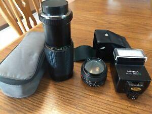 Minolta MD 50mm F1.2 Camera Lens , rokinon 80-250mm lens,minolta 280 fx flash