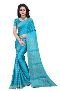 Hellblau Bollywood Karneval Sari Orient Indien CA112 indisches Kleid