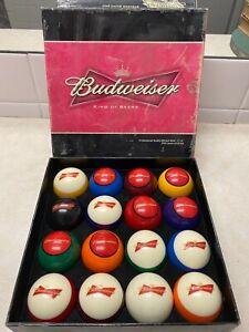 Vintage PROFESSIONAL Budweiser Billiard Pool Balls in Box