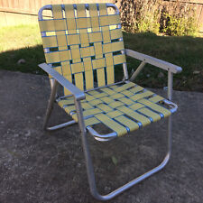 Vintage 50s Metal Mid Century MCM Folding Lawn Chair Beach Surf Travel Camping