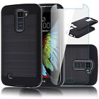 Metal Brushed Hybrid Dual Layer Case Cover+Tempered Glass Protector For LG Phone