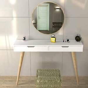 White Wooden 2 Leg 2 Drawer Dresser, Hallway Table With Mirror- Karina