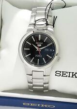 SEIKO Men Silver tone Automatic Watch Seiko 5 Black DIAL SNKA07K1 SNKA07 NEW BOX