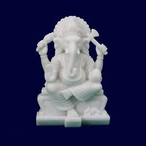 Very rare beautiful Makarana White Marble stone God Ganesh statue idol sculpture