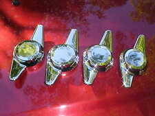 4 new chrome plated spinner caps,5/16 bolt on,2 blade sweep,rat rod mag wheels,