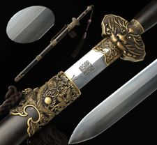 Hand Forged pattern steel sharp Cloud-dragon Sword Copper Carved Fittings #4993