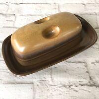 Mikasa Potters Art Covered Butter Dish Ben Seibel Japan Brown Matching Lid Grips