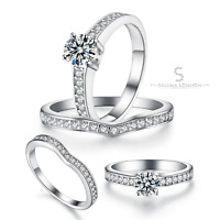 925 Sterling Silver Pavé Solitaire Ring Set with Cubic Zirconia Stone