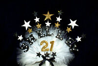 Star personalised Name and Age Feather Birthday / Celebration cake topper