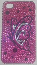 Diamonte BUTTERFLY on PINK Design Case for Apple iPhone 4/4G/4S Phone cover