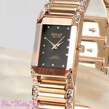 OMAX Deco Rose Gold PL Seiko Movt Black Bevel Watch w/ Swarovski Crystals JES612