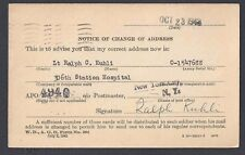 1943 WAR DEPT CAMP MOODY WIS NOTICE OF ADDRESS CHANGE, OFFICIAL BUSINESS