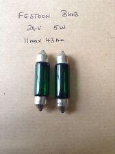 2 x Festoon Bulbs 24v 5w Green