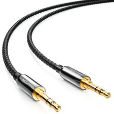 deleyCON 1m Klinken Kabel mit Nylon Mantel 3,5mm Klinke zu 3,5mm Klinke