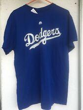 Majestic Los Angeles Dodgers Shirt Men MEDIUM Blue White Spellout Baseball