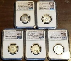 Full Set 5 US Mint 225th Anniversary Set $0.25 Early Releases NGC SP 69