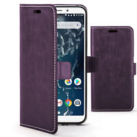 Xiaomi Mi A2 Case | Handmade PU Leather Premium Flip Cover Stand | Purple+Stylus