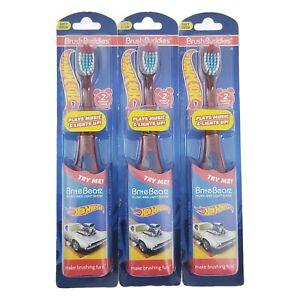 3X Hot Wheels Brush Buddies Brite Beatz Soft Toothbrush Kids Music & Lights New