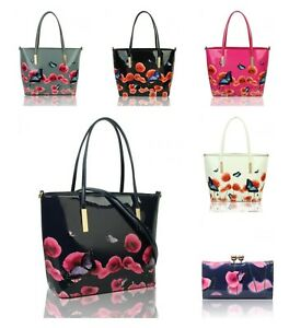 New Women's Large Patent Poppy Flower & Butterfly Patterned Long Handle Hand Bag