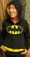 Batman Full Zip black Hoodie Jacket With Bat Ears Mens Size Small