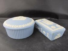 Vintage Pair Blue Wedgwood Jasper Ware Trinket Boxes Round and Rectangle Shape