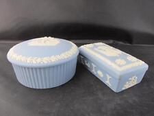 Vintage Pair Blue Wedgwood Jasper Ware Trinket Boxes Round and Rectangle Shape