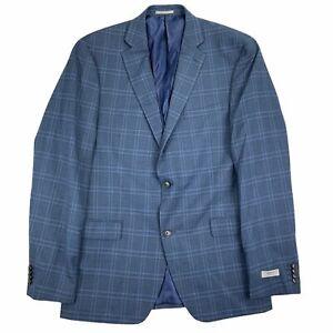 Alfani Mens Slim Fit Stretch Plaid Suit Jacket Blazer Navy Blue 46R