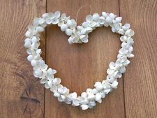 Hanging Cockleshell Heart Garland Wreath Shabby Chic Cockle Shell Heart 25cm