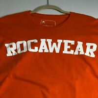 Rocawear Men's Short Sleeve T Shirt Large L Orange Logo Spellout Crewneck