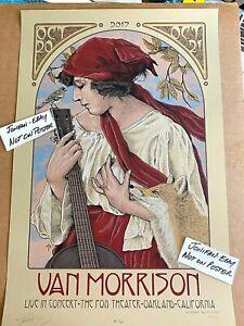 VAN MORRISON Oakland CA 2017 GOLD VARIANT Screen Printed AE Poster S/N #1/50