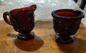 Vintage Set Of ( 2 ) 1980s AVON 1876 CAPE COD RUBY RED Glass Creamer Sugar Set