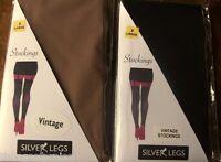 Ladies Plus Size 20-26  Vintage Style Nylon Stockings Black Natural Red & White